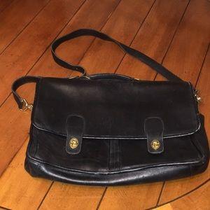 Vintage black leather coach satchel/briefcase